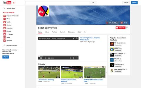 Screenshot of YouTube Page youtube.com - Scout Samvelvich  - YouTube - captured Oct. 23, 2014
