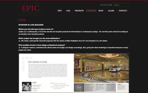 Screenshot of Press Page epicstone.net - Press | Epic Ceramic & Stone - captured Oct. 22, 2014