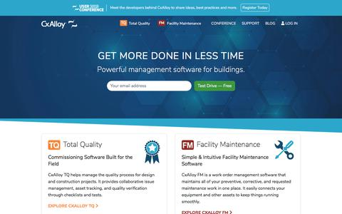 Screenshot of Home Page cxalloy.com - CxAlloy – Software for Commissioning and Facility Maintenance - captured Aug. 21, 2019