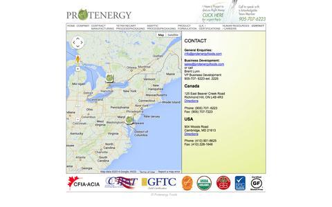 Screenshot of Contact Page protenergyfoods.com - Protenergy - Contact - captured Oct. 3, 2014
