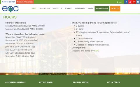 Screenshot of Hours Page encenter.org - Hours | Environmental Nature Center - captured Jan. 30, 2016