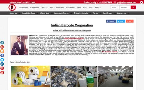 Screenshot of About Page indianbarcode.com - About Us- Indian Barcode Corporation( A  MINDWARE GROUP COMPANY) - captured July 2, 2017