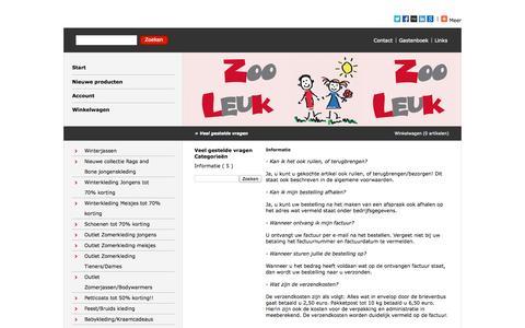 Screenshot of FAQ Page zooleuk.nl - Veel gestelde vragen - http://www.zooleuk.nl/ - captured Oct. 7, 2014
