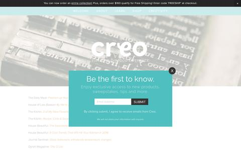 Screenshot of Press Page creokitchen.com - Press — Creo - captured July 2, 2016