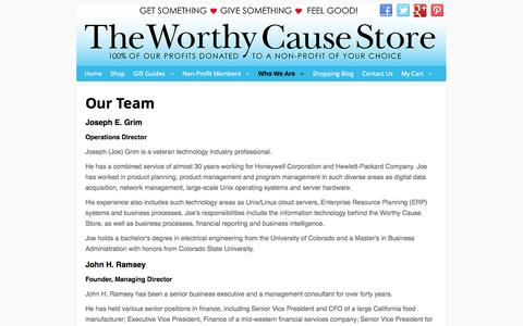Screenshot of Team Page worthycausestore.com - Our Team - captured Oct. 9, 2014