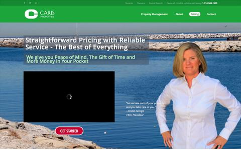 Screenshot of Pricing Page carisproperties.com - Pricing - Caris Properties - captured Oct. 1, 2014