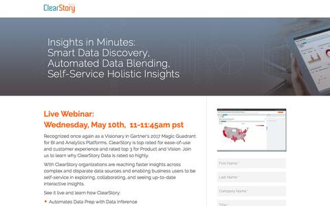 Screenshot of Landing Page clearstorydata.com - ClearStory Data - captured May 13, 2017
