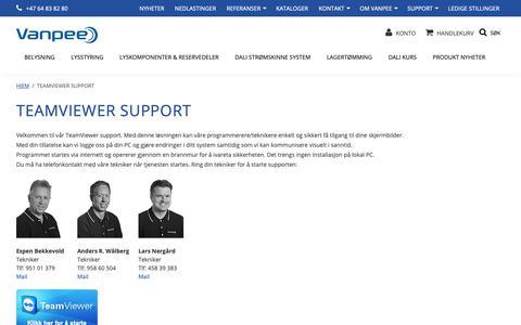 Screenshot of Support Page vanpee.no - TeamViewer support - captured Sept. 28, 2018