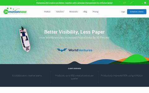 Screenshot of Case Studies Page inmotionnow.com - Customer Stories | inMotionNow | Workflow Management - captured April 18, 2019