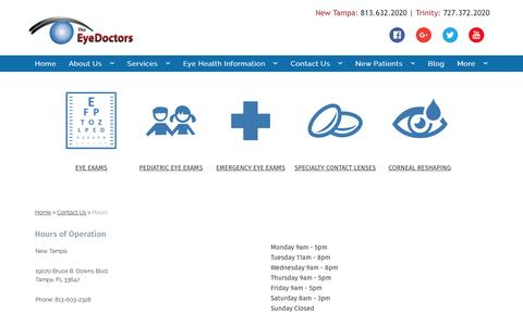 Screenshot of Hours Page theeyedocs.com - :: Hours - captured Dec. 22, 2016