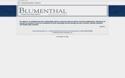 Screenshot of Home Page blumenthalassociates.com - Blumenthal Associates - captured Oct. 5, 2014