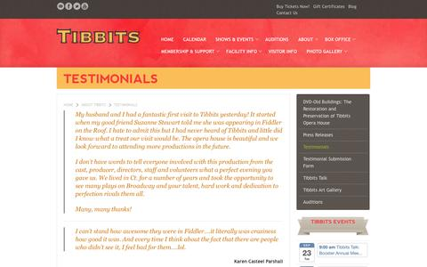 Screenshot of Testimonials Page tibbits.org - Testimonials about Tibbits Opera House - captured Sept. 19, 2014