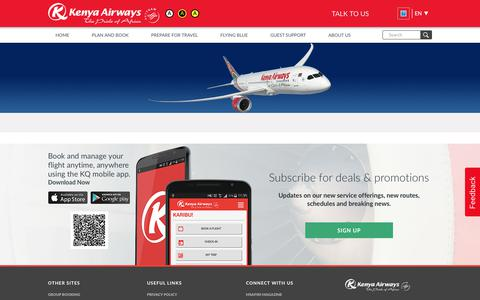 Screenshot of Site Map Page kenya-airways.com - Site Map | Kenya Airways - captured June 9, 2017