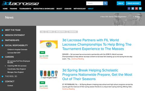 Screenshot of Press Page 3dlacrosse.com - News | 3d Lacrosse - captured April 22, 2018