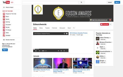 Screenshot of YouTube Page youtube.com - EdisonAwards  - YouTube - captured Oct. 22, 2014
