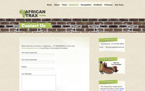 Screenshot of Contact Page africantrax.co.za - Tours Cape Town-African Trax Tours » Contact Us - captured Oct. 4, 2014
