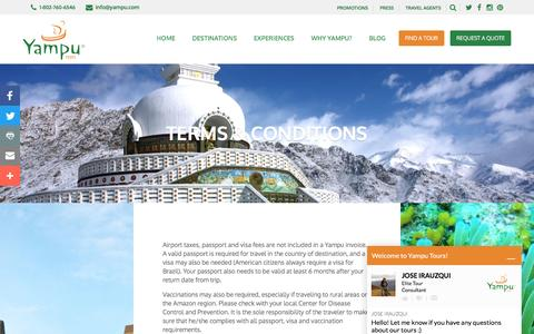 Screenshot of Terms Page yampu.com - TERMS & CONDITIONS | Yampu Tours - captured Nov. 19, 2016
