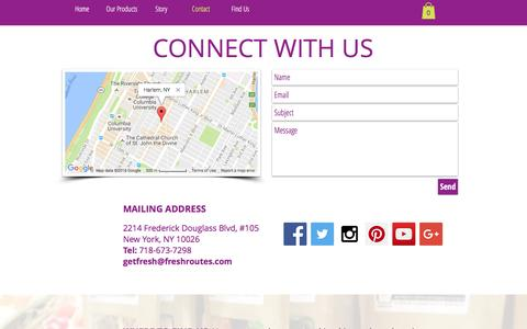 Screenshot of Contact Page freshroutes.com - Fresh Routes | Contact Us - captured Aug. 4, 2016