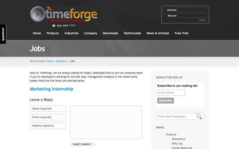 Screenshot of Jobs Page timeforge.com - » TimeForge Jobs - captured Sept. 22, 2014