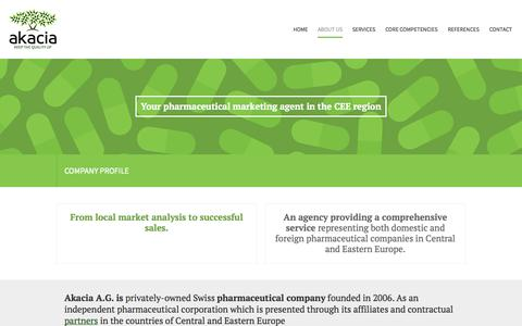 Screenshot of About Page akacia.eu - Akacia A.G. | About Us - captured Oct. 4, 2014