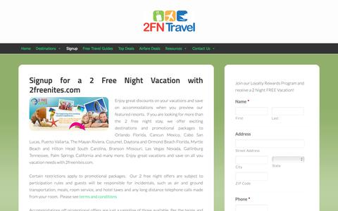 Screenshot of Signup Page 2freenites.com - Signup for a 2 Free Night Vacation - 2freenites.com - captured Oct. 9, 2018