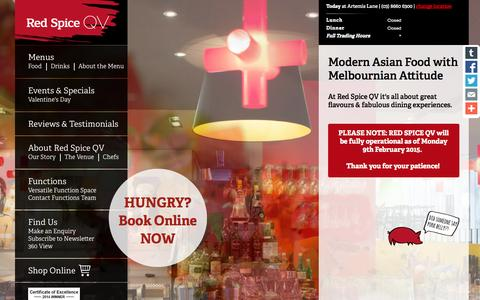 Screenshot of Home Page redspiceqv.com - Modern Asian Food with Melbournian Attitude | Red Spice QV - captured Jan. 26, 2015
