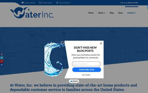 Screenshot of Contact Page waterinc.com - Contact Form for Water, Inc.   Water Filtration Systems - captured Sept. 21, 2018
