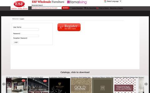 Screenshot of Login Page esfwholesalefurniture.com - Login - captured Sept. 23, 2018