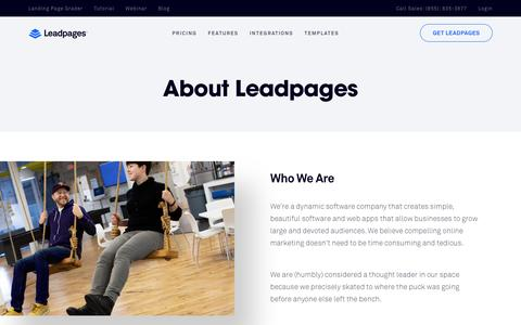 Screenshot of About Page leadpages.net - Leadpages Software - mobile responsive landing page generator - captured June 7, 2016