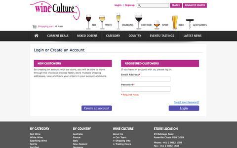 Screenshot of Login Page wineculture.com.au - Customer Login   Wine Culture - captured Oct. 29, 2014