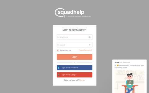 Screenshot of Login Page squadhelp.com - Business Name Ideas| Naming & Logo Contests| Brand Name Ideas - captured June 29, 2017