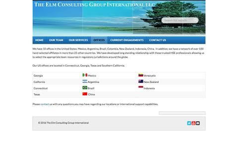 Screenshot of Locations Page elmgroup.com - Offices - The Elm Consulting Group International - captured Feb. 15, 2016