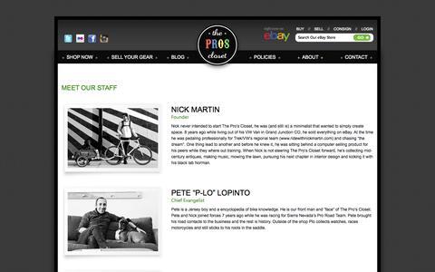 Screenshot of Team Page theproscloset.com - Our Team - - captured Oct. 9, 2014