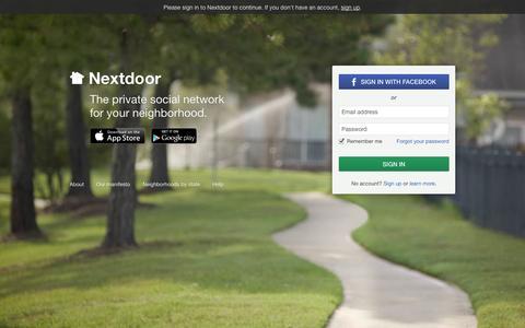Screenshot of Login Page nextdoor.com - Nextdoor: Sign in - captured Sept. 12, 2014