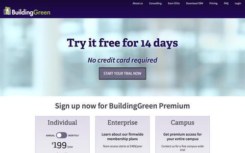 Screenshot of Pricing Page buildinggreen.com - Membership Pricing | BuildingGreen - captured Nov. 23, 2016