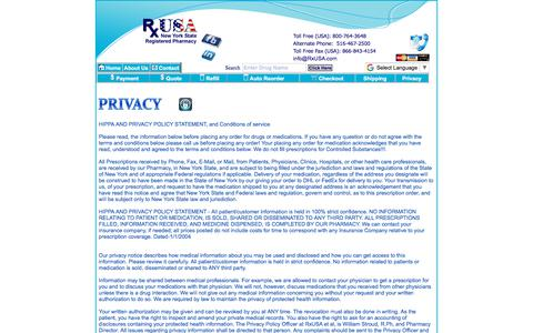 Screenshot of Privacy Page rxusa.com - RxUSA Pharmacy, Prescriptions, Drugs, Medications, Pharmacy - captured Oct. 23, 2017