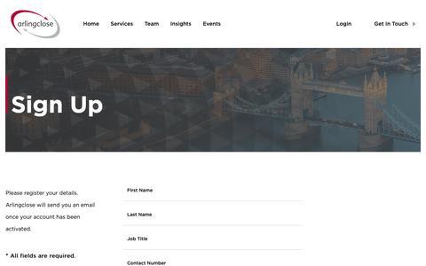 Screenshot of Signup Page arlingclose.com - Sign Up - Arlingclose - captured Oct. 4, 2018