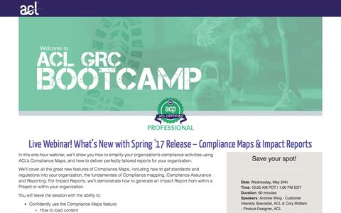 Screenshot of Landing Page acl.com - What's New with Spring '17 Release – Compliance Maps & Impact Reports - captured May 30, 2017
