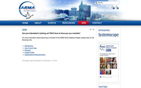 Screenshot of Signup Page armancr.ca - Join - captured Sept. 30, 2014