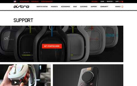 Screenshot of Support Page astrogaming.com - Astro Support - captured Jan. 20, 2016