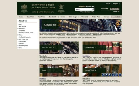 Screenshot of About Page bbr.com - About Berry Bros. & Rudd - Britain's Oldest Fine Wine and Spirits Merchant - captured Sept. 19, 2014
