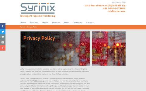 Screenshot of Privacy Page syrinix.com - Privacy Policy - Syrinix - captured Nov. 1, 2017