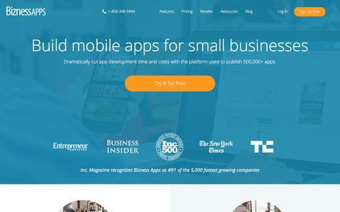 Screenshot of Home Page biznessapps.com - Mobile App Maker   Bizness Apps - captured Sept. 10, 2016