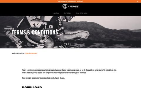 Screenshot of Terms Page vergesport.com - Terms & Conditions - Verge Sport - captured Sept. 25, 2018