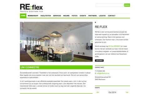 Screenshot of Home Page reflexhub.be - Home | RE:flex | flexible business hub - captured Oct. 1, 2014