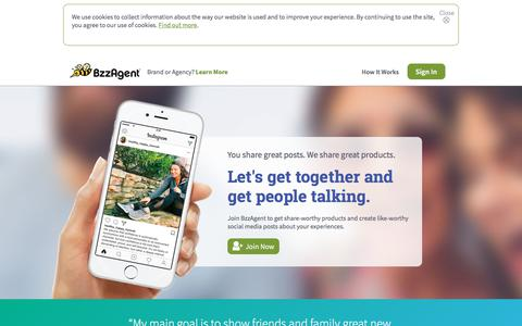 Screenshot of Home Page bzzagent.com - BzzAgent is the leading word-of-mouth marketing (WOM) company - captured Feb. 24, 2018