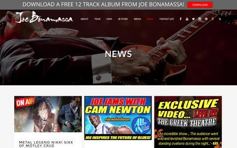 Screenshot of Press Page jbonamassa.com - News Archives - Joe Bonamassa - captured Sept. 4, 2016