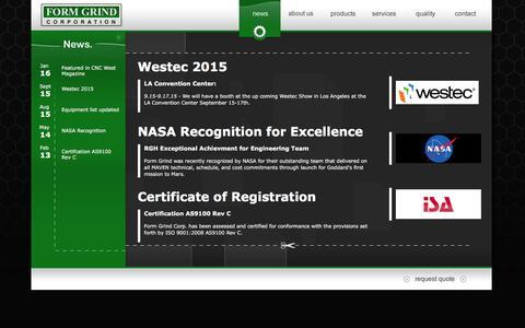 Screenshot of Press Page formgrind.com - Form Grind Corporation - captured Feb. 10, 2016
