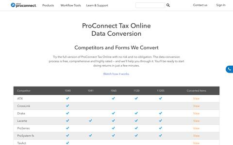 Screenshot of intuit.com - Tax Data Conversion | ProConnect Tax Online - captured April 24, 2018