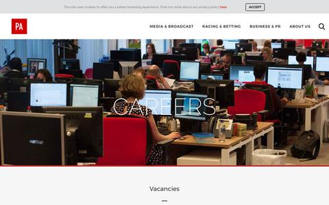 Screenshot of Jobs Page pressassociation.com - Careers in the media industry. PA offers a range of jobs - captured Aug. 6, 2017